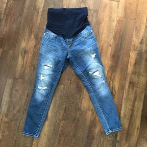Target Maternity distressed skinny jeans